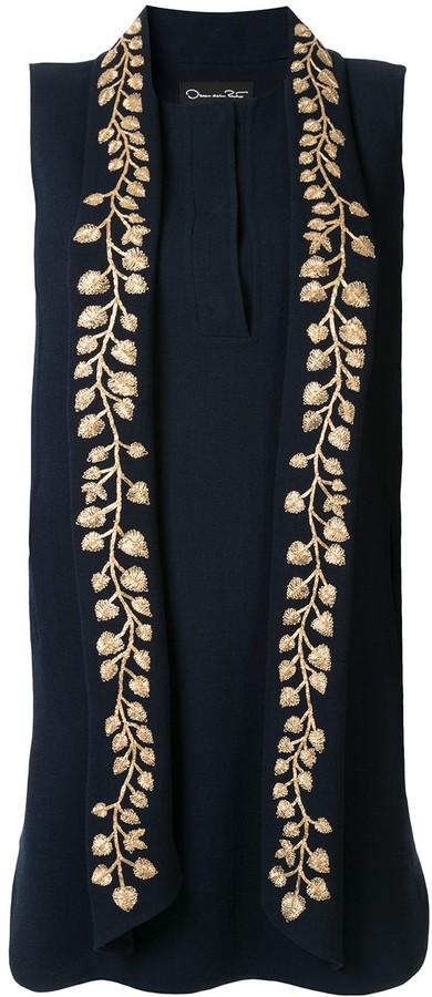 Oscar de la Renta Leaf Embroidered Mini Dress