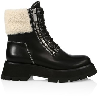 3.1 Phillip Lim Kate Zip Lug-Sole Shearling-Trimmed Leather Combat Boots