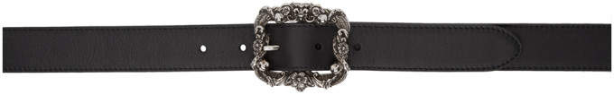Alexander McQueen Black Leather Engraved Belt