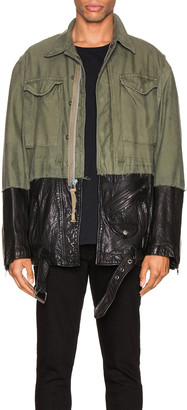 Greg Lauren 50/50 M51 Leather Jacket in Army | FWRD