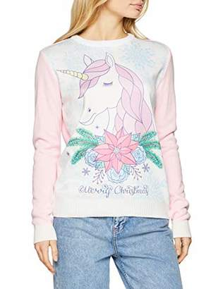 British Christmas Jumpers Cute Unicorn Printed Womens Christmas Jumper White, (Size: S)