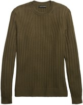 Olive Ribbed Sweater ShopStyle