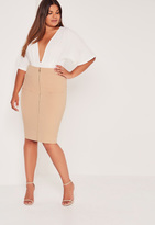 Missguided Plus Size Zip Front Pocket Midi Skirt Camel
