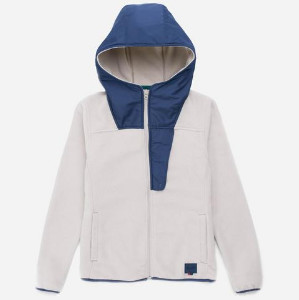 Herschel Oatmeal Fleece Zip Up Peacoat Jacket - XS - White/Blue
