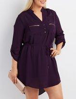 Charlotte Russe Plus Size Zip-Pocket Shirt Dress