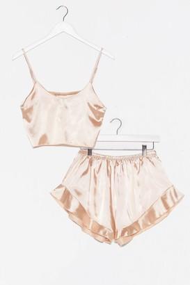 Nasty Gal Womens Sheen It Coming Satin Shorts Pajama Set - Champagne