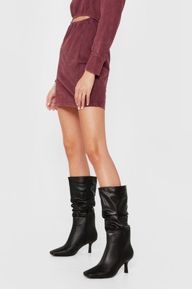 Nasty Gal Womens Faux Leather Slouch Calf High Heeled Boots - Black - 5, Black