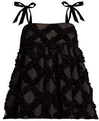 Cecilie Bahnsen - Celina Bow-strap Velvet Devore Silk Top - Womens - Black