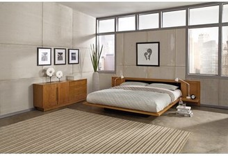 Copeland Furniture Moduluxe Solid Wood and Upholstered Platform Bed Size: Queen, Frame Color: Natural Maple, Headboard Color: Sisal Fabric