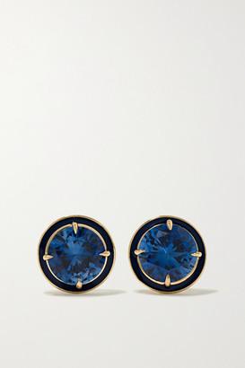 Alison Lou 14-karat Gold, Enamel And Sapphire Earrings - one size