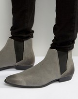Asos Pointed Chelsea Boots in Gray Suede