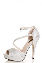 Quiz Silver Glitter Mesh Platform Sandals
