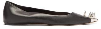 Alexander McQueen Spike-embellished Leather Flats - Black Silver