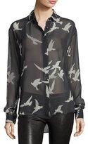 Saint Laurent Bird-Print Sheer Silk Shirt
