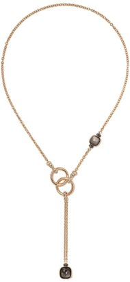 Pomellato 18kt rose and white gold Nudo obsidian and black diamond necklace
