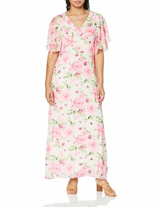 Yumi Women's Delicate Rose Printed V Neck Maxi Dress Cocktail