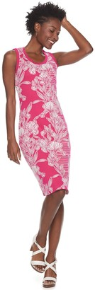 Nina Leonard Women's Floral Jacquard Sweater Dress