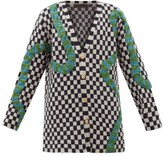 The Elder Statesman Snake-applique Checked Cashmere Cardigan - Womens - Black White