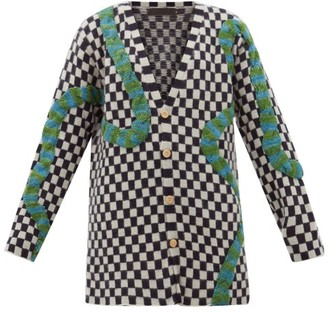 The Elder Statesman Snake-applique Checked Cashmere Cardigan - Womens - Black White