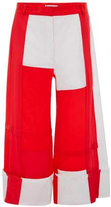 J.W.Anderson EXCLUSIVE PILLARBOX RED PATCHWORK PANELLED TROUSERS