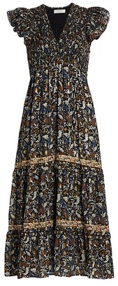 Sea Walker Flutter-Sleeve Floral Maxi Dress