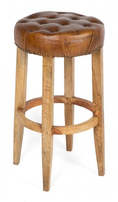 Home & Giftware Manhattan Round Wood And Leather Bar Stool