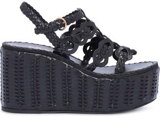 Prada 95mm Woven Wedge Sandals