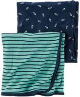 Carter's 2-Pack Little Rocket Babysoft Swaddle Blanket Set