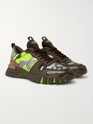 Valentino Rockrunner Plus Camouflage-Print Rubber, Suede And Canvas Sneakers
