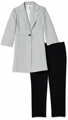 Le Suit LeSuit Women's 1 Button Notch Collar GEO DOT Jacquard Topper Pant Suit