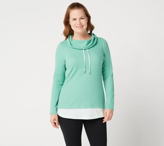 Denim & Co. Regular Active Waffle Knit Color-Block Tunic