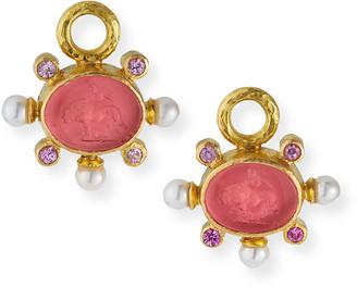 Elizabeth Locke 19k Tiny Lion Venetian Glass Pearl-Trim Earring Charms