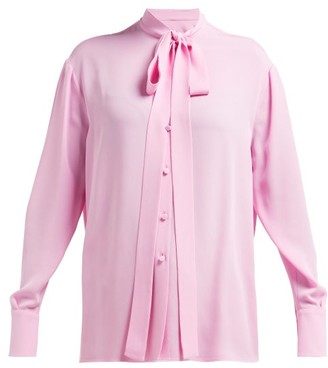 Valentino Pussybow Silk-georgette Blouse - Womens - Pink