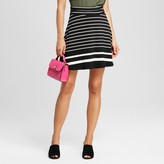 Merona Women's Striped Short Knit Skirt Black and White