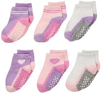 Jefferies Socks Non-Skid Ankle Quarter 6-Pack (Infant/Toddler) (Girl Multi) Girls Shoes