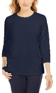 Karen Scott Sport Textured-Dot 3/4-Sleeve Top, Created For Macy's