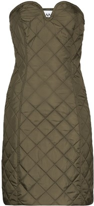 Ganni Strapless Quilted Mini Dress