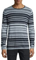 Vince Jaspe Multi-Striped Long-Sleeve T-Shirt, Heathered Coastal