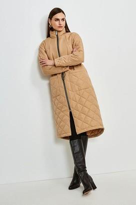Karen Millen Longline Quilted Hem Coat