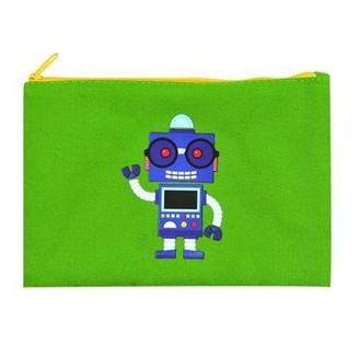 Beacon Craft Canvas Pencil Pouch - Green Robot