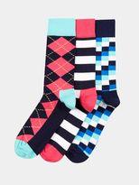 Burton Burton Happy Socks 3 Pack Blue And Pink Pattern Mix Socks