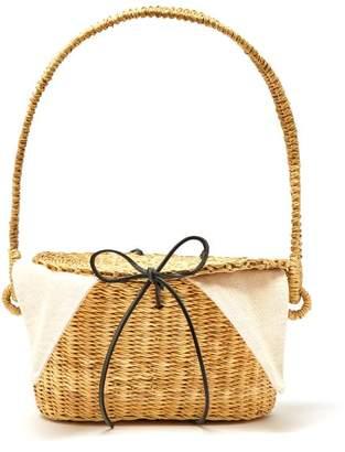 Muun Jeanne Mini Woven-straw Bucket Bag - Womens - Cream