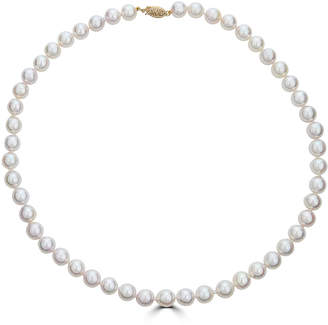 BELPEARL Elegant 14k Akoya Pearl Necklace, 7.5x7mm