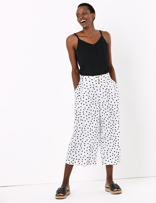 Marks and Spencer Polka Dot Wide Leg Cropped Trousers