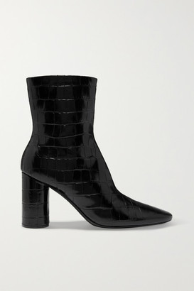 Balenciaga Oval Croc-effect Leather Ankle Boots - Black