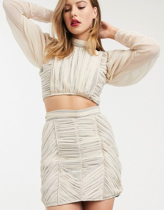 Asos DESIGN soft ruched mini skirt two-piece with contrast lining