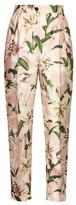 Dolce & Gabbana High-rise Floral-print Shantung Trousers - Womens - Pink Multi