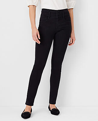 Ann Taylor Tall Sculpting Pockets High Rise Skinny Jeans in Jet Black Wash