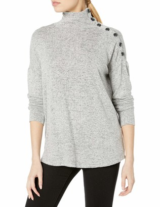 Kensie Women's Plush Touch Turtleneck Sweater Top with Button Shoulder