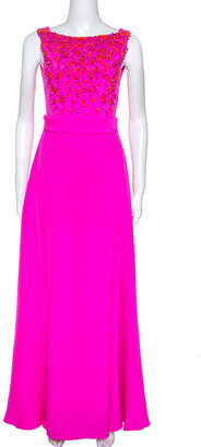 Emilio Pucci Bright Pink Silk Embellished Bodice Sleeveless Gown S